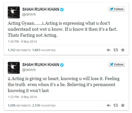 shah rukh khan twitter on acting